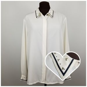 Koret/Ivory Button Down Blouse with Flower Detail